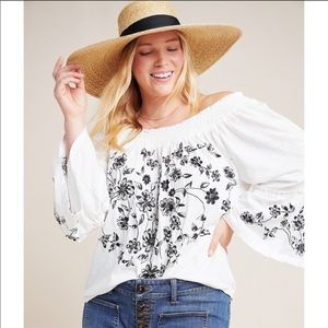 Anthro NWT Annie Embroidered Off the Shoulder Top